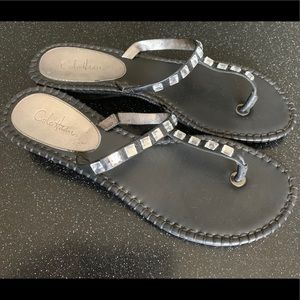 Cole Haan Kalla T strap sandal thong black jewels